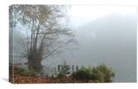 misty morning lake in Shropshire, Canvas Print