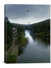 Buzzards over Ironbridge, Canvas Print