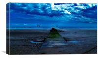 Moonlight on South Beach,Bridlington. Yorkshire., Canvas Print