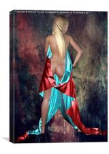 Nude with drape back view, Canvas Print