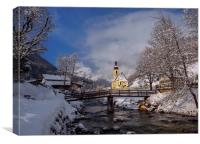 Alpine Winter in Ramsau, Canvas Print