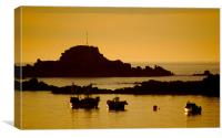 Cobo Bay Sunset Guernsey, Canvas Print