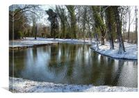 The Cherwell in winter., Canvas Print