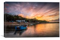 Woodside Bay Boat Sunset, Canvas Print