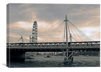 London Hungerford bridge, sepia-grey, Canvas Print