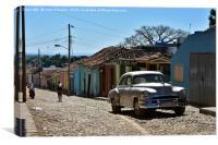 Silver old-timer in a Trinidad, Cuba, Canvas Print