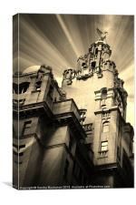Liverpool Royal Liver Building in Sepia, Canvas Print