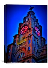 Liverpool Liver Building At Dusk, Canvas Print