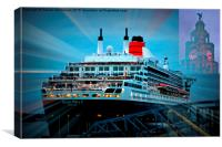 Queen Mary 2 visits Liver Building Liverpool, Canvas Print