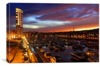 City of Swansea Marina by night, Canvas Print