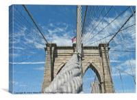 Brooklyn Bridge Support, New York, Canvas Print