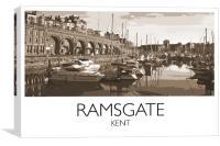 Ramsgate Harbour, Vintage Railway Style, Canvas Print