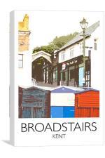 Broadstairs beach huts railway print, Canvas Print