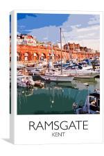 Ramsgate Harbour Railway Style Print, Canvas Print
