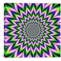 Star Flower in Green Blue and Violet, Canvas Print
