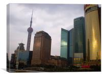 Shanghai Skyline at Sunset, Canvas Print
