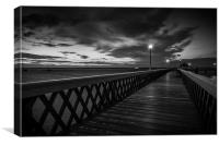 Night Time Pier Mono, Canvas Print