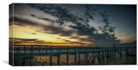 Sunset at Yarmouth over the pier, Canvas Print