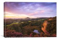 Sunset over Roseberry Topping, Canvas Print