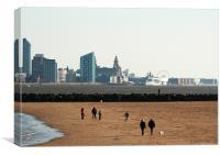 Liverpool Skyline New Brighton Beach, Canvas Print
