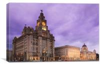 Liverpool Pier Head at Night, Canvas Print