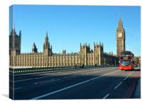 London Bus by Parliament, Canvas Print