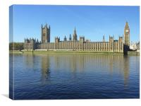 Houses of Parliament from the Thames, Canvas Print