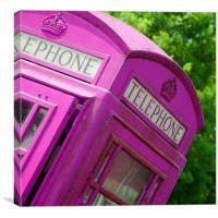 Pink british phonebox, Canvas Print