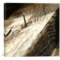 Nail in wood, Canvas Print