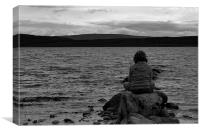 Boy on the loch., Canvas Print