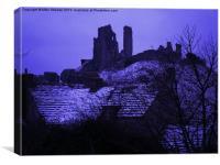 Corfe Castle in Winter, Canvas Print