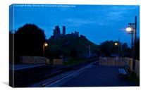 Corfe Castle at dusk, Canvas Print