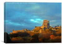 Corfe Castle in November, Canvas Print