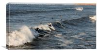 Who Will catch The Big Wave !, Canvas Print