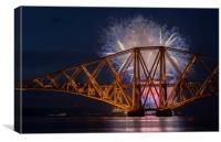 Forth Rail Bridge Fireworks, Canvas Print