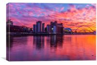 Awsome fiery sunset over Necastle Upon Tyne, Canvas Print