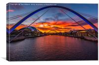 Fiery sunset over Tyne Bridges, Newcastle , Canvas Print