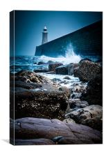 Waves at Tynemouth Lighthouse, Canvas Print