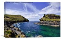 Entrance to Boscastle by Sea, Canvas Print