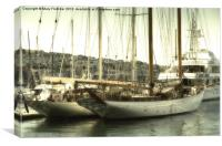 Superyachts moored in Port Pendennis, Canvas Print