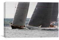 Windward Boat! Velsheda and Ranger doing battle, Canvas Print