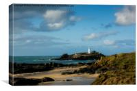 Godrevy Lighthouse and Beach, Canvas Print