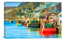 Colourful Fishing Boats at Looe, Canvas Print