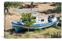 Abandoned Greek Fishing Boat, Canvas Print
