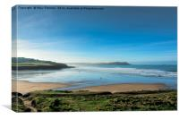 Surfs up at Polzeath Beach, Canvas Print