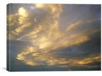 Transient wispy summer evening cloud, Canvas Print