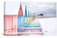 Mersea Huts In The Snow., Canvas Print