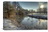 Winter at the river colne., Canvas Print