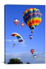 Balloons and Parachutist, Canvas Print