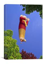 Rupert the Bear Balloon, through trees, Canvas Print